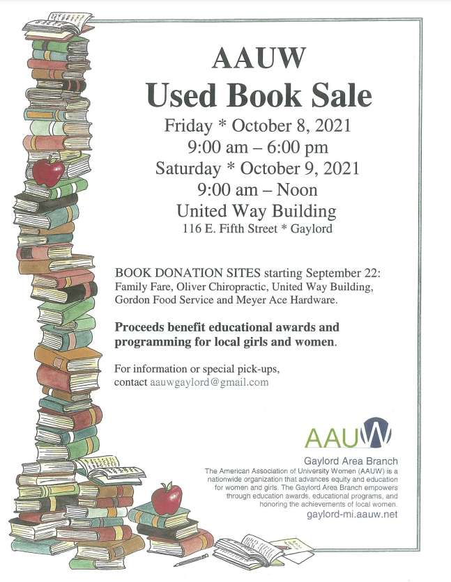 AAUW Gaylord Used Book Sale Oct 8 and 9, 2021